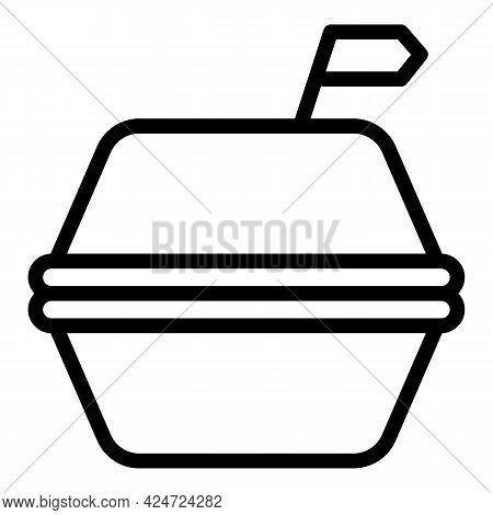 Take Away Hamburger Icon. Outline Take Away Hamburger Vector Icon For Web Design Isolated On White B