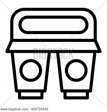 Take Away Lunch Drink Icon. Outline Take Away Lunch Drink Vector Icon For Web Design Isolated On Whi