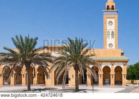 View To Sheikh Hamdan Bin Mohammed Al Nahyan Mosque In Typical Moroccan Style With Majestic Minaret