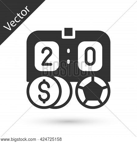 Grey Soccer Football Betting Money Icon Isolated On White Background. Football Bet Bookmaker. Soccer