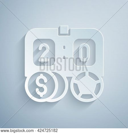 Paper Cut Soccer Football Betting Money Icon Isolated On Grey Background. Football Bet Bookmaker. So
