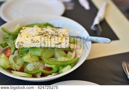 Greek Salad. Greek Mediterranean Salad With Feta Cheese, Tomatoes And Peppers. Mediterranean Salad