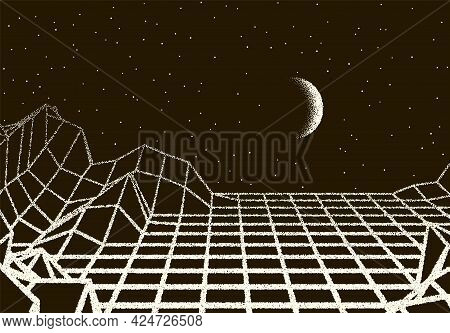 Retro Dotwork Landscape With 80s Styled Laser Grid, Planet, Sun And Stars Background From Old Sci-fi