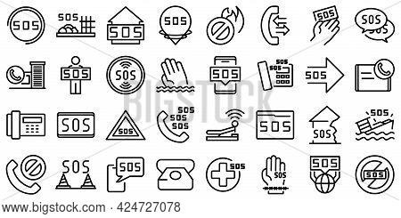 Sos Icons Set. Outline Set Of Sos Vector Icons For Web Design Isolated On White Background