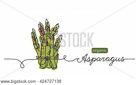 Asparagus Bunch Sketch Vector Illustration, Background. One Continuous Line Drawing Art Illustration