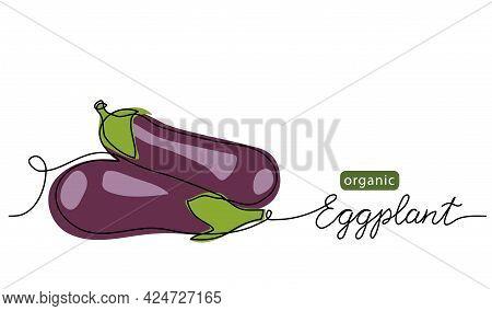 Eggplant, Aubergine, Brinjal Simple Vector Illustration, Background. One Line Drawing Art Illustrati