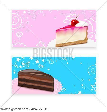 Cheesecake Dessert 2 Realistic Horizontal Background Banners With Vanilla Cherry Cream Chocolate Cak