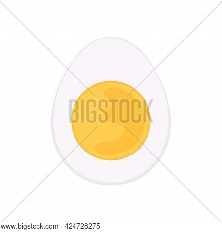 Boiled Egg Vector Design Illustration Isolated On White Background, Half Of Boiled Egg, Concept For