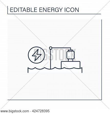 Pumped Storage Station Line Icon. Hydroelectric Energy Storage.water Reservoir. Electricity Concept.