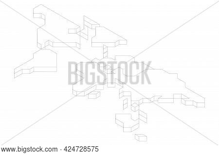 3d White Isometric Map Of World. Simplified Vector Illustration