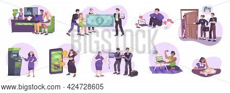 Bank Credit Lending Service Concept 9 Flat Compositions With First Mortgage Borrowing Repayments Deb