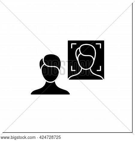 Photo Face Recognition Glyph Icon. Authentication By Facial Recognition.identify Person From Image.i