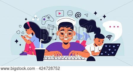 Children Gadget Addiction Horizontal Vector Illustration With Kids Addicted To Digital Devices With