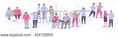 Obesity Weight Loss People Set With Isolated Human Characters Of Fat People Losing Weight Doing Exer