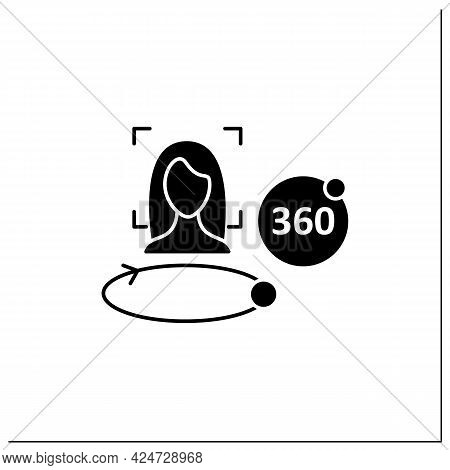 360 Degree Face Scan Glyph Icon. Three-dimensional Face Scanning.biometric Face Detection.identity D