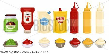 Sauce Packaging Set With Isolated Images Of Ready Dishes With Bottles Of Sauce And Wasabi Dishes Vec