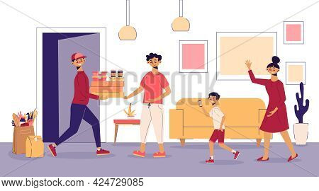 Food Delivery Family Composition Food Courier Is Met On The Doorstep By Whole Family Vector Illustra