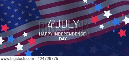 Happy Independence Day. Square Banner For Social Media. Us Flag With 4th Of July On Blue Background.