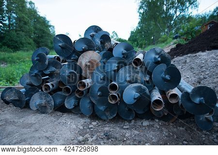 Metal Piles For Construction. The Piles Are Piled Up, Ready To Go