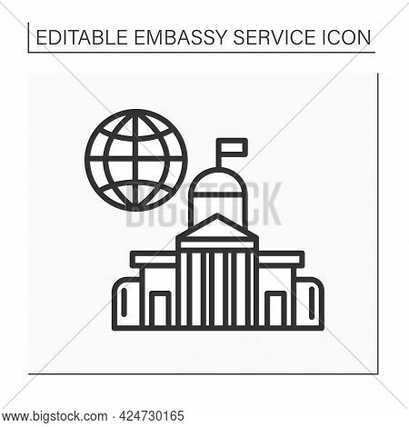 Embassy Line Icon. State Diplomatic Mission Place Abroad. Located In Another Country. Government For