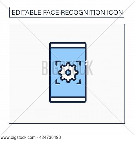 Mobile App Line Icon. Face Recognition Application. Automatically Technology Biometric Verification.