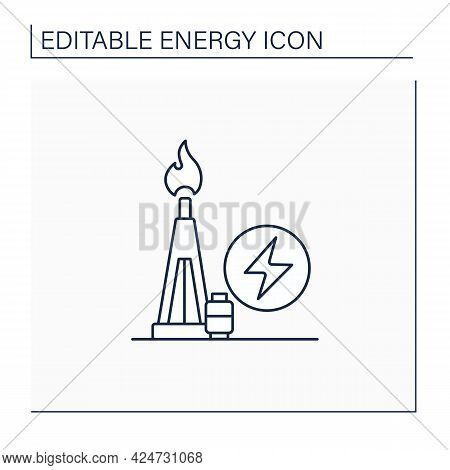 Gas Power Line Icon. Power Station. Thermal Stations Burn Natural Gas. Electricity Generation Concep