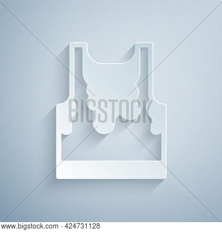 Paper Cut Sweaty Sleeveless Sport T-shirt Icon Isolated On Grey Background. Paper Art Style. Vector