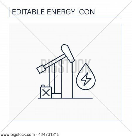 Oil Power Line Icon. Fossil Fuel Power Station. Mining Coal, Fuel Oil, Natural Gas.electricity Gener
