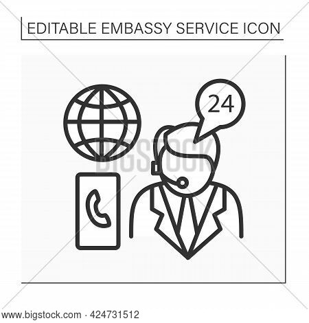 Emergency Assistance Line Icon. Consumer Support Day-and-night. Consultation About Arresting Citizen