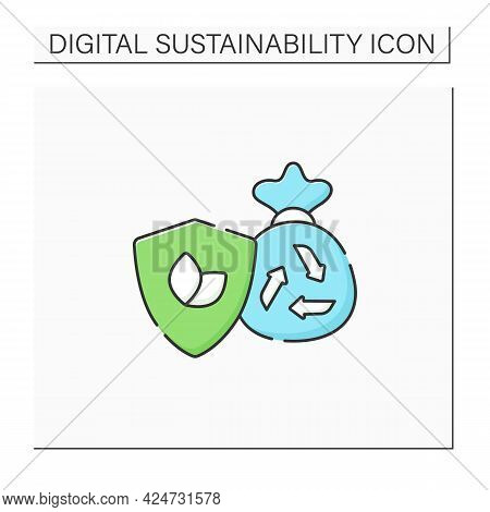 Eco Friendly Disposal Color Icon. Waste Disposal. Recycle. Utilization. Environmentally Friendly. Na