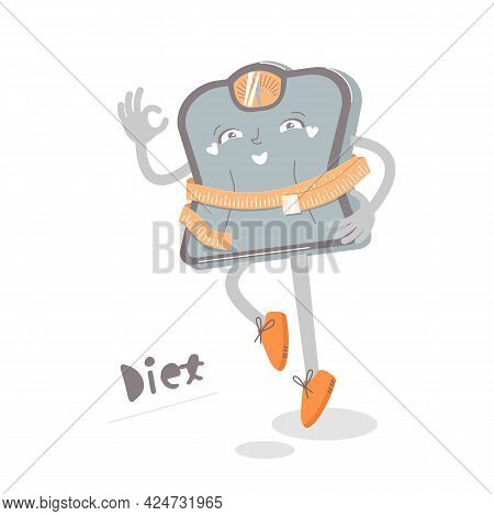 Funny Diet Character Icon. Weight Losing Sign.
