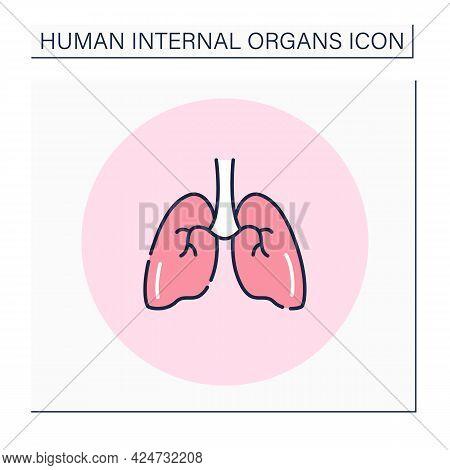 Lungs Color Icon. Medical Treatment. Respiratory Organ. Human Internal Organs Concept.isolated Vecto