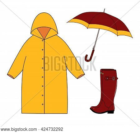 Autumn Vector Set Of Yellow Red Outdoor Clothes And Accessory For Cold Rainy Weather. Rubber Boots,
