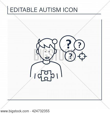 Neurodevelopmental Disorder Line Icon.intense Focus On One Topic. Preoccupation With A Specific Topi