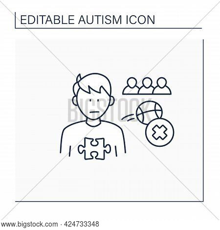 Neurodevelopmental Disorder Line Icon.not Engaging In Play With Peers. Avoid Collectively Gaming.aut