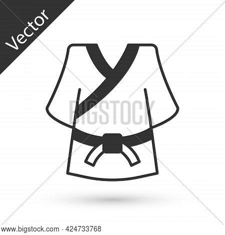 Grey Kimono Icon Isolated On White Background. Chinese, Japanese, Korean, Vietnamese Wearing Nationa