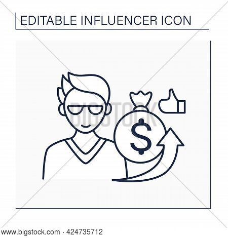 Influencer Sponsorship Line Icon. Content Created In Partnership With Brands. Promotion Products By