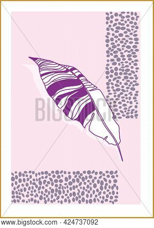 Minimalism Botanical Vector Illustration As Abstraction Composition With Leaves. Ideal For Art Galle