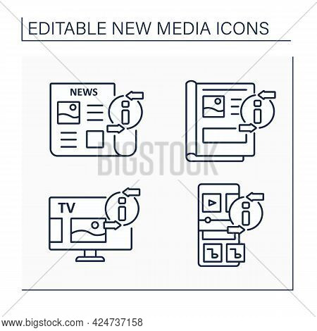 New Media Line Icons Set. Newspaper, Magazine, Radio, Television. Information Space Concept. Isolate