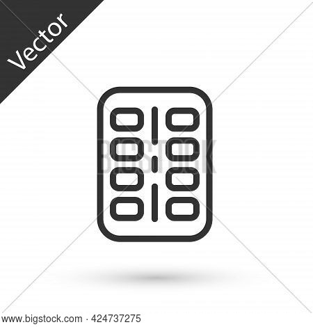 Grey Line Nicotine Gum In Blister Pack Icon Isolated On White Background. Helps Calm Cravings And Re