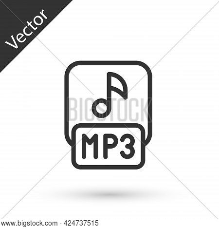 Grey Line Mp3 File Document. Download Mp3 Button Icon Isolated On White Background. Mp3 Music Format
