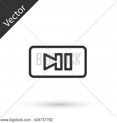 Grey Line Pause Button Icon Isolated On White Background. Vector