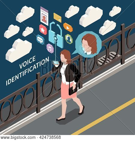 Biometric Authentication Isometric Composition With Female Character Walking Down Street With Though