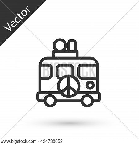 Grey Line Hippie Camper Van Icon Isolated On White Background. Travel By Vintage Bus. Tourism, Summe