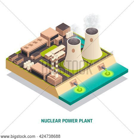 Toxic Waste Nuclear Chemical Pollution Biohazard Isometric Concept With Nuclear Power Plant Construc