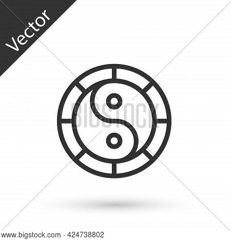 Grey Line Yin Yang Symbol Of Harmony And Balance Icon Isolated On White Background. Vector