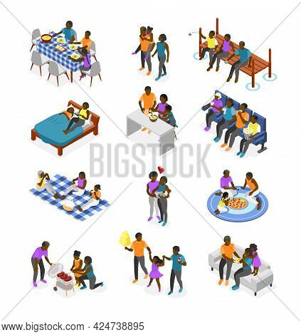 International Day Of Families Isometric Recolor Set Of Different Ages Relatives From Baby To Elderly