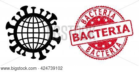 Global Coronavirus Icon On A White Background. Isolated Global Coronavirus Symbol With Flat Style.