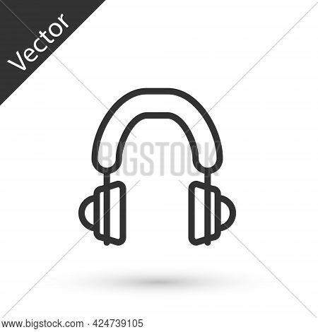 Grey Line Headphones Icon Isolated On White Background. Earphones. Concept For Listening To Music, S