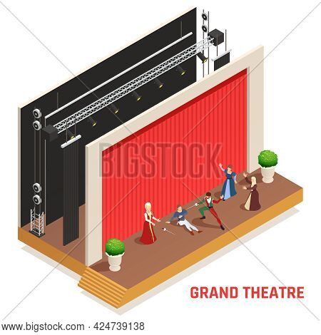 Grand Theatre Isometric Concept With Performance And Play Symbols Vector Illustration
